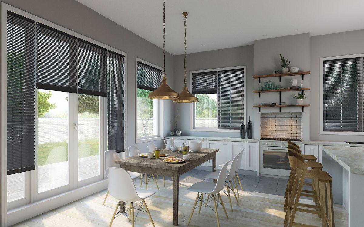 Grey Venetian blinds in modern dining room