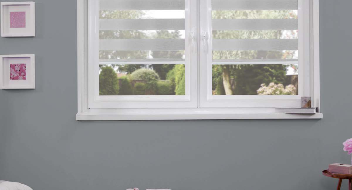 Grey perfect fit mirage blinds in grey bedroom