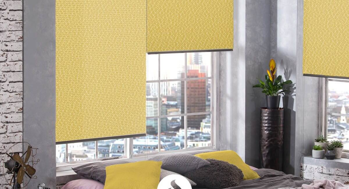 yellow and grey hive pleated blinds in modern bedroom